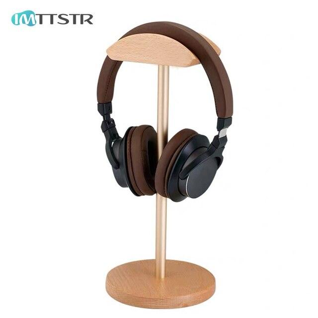IMTTSTR uniwersalny stojak na słuchawki z prawdziwego drewna uchwyt na uchwyt do wieszaka na słuchawki