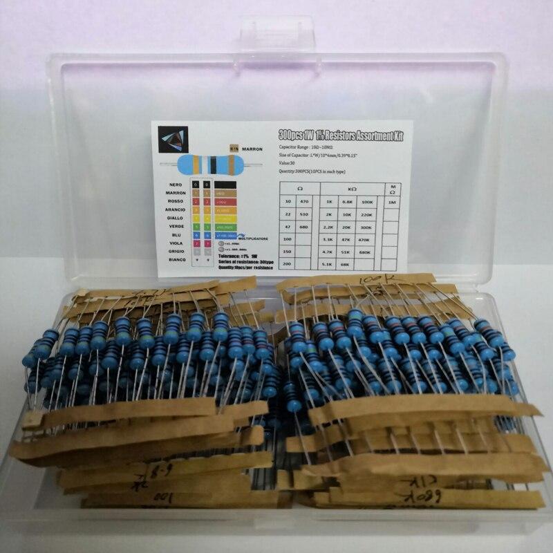 Total 300pcs 1% 1W Metal Film Resistor Assorted Kit 30Values*10pcs=300pcs (10 Ohm ~1M Ohm)