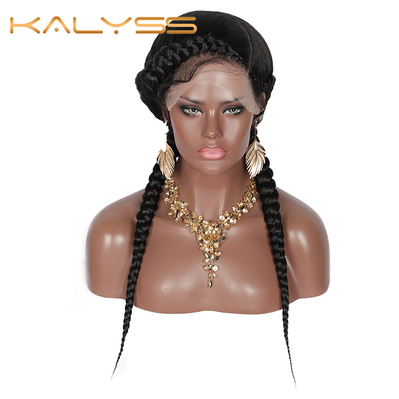 "Kalyss 24"" Swiss Lace Front Dutch Twins Braided Wigs Fully Hand-Braided With Baby Hair For Women No Split Ends Black Braided Wig"
