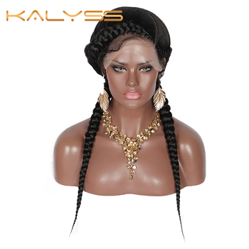"""Kalyss 24"""" Swiss Lace Front Dutch Twins Braided Wigs Fully Hand-Braided with Baby Hair for Women No Split Ends Black Braided Wig"""