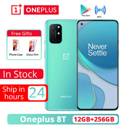 Oneplus 8T 8 T 5G 12GB 256GB 5G SmartPhone 120Hz Fluid AMOLED Display Snapdragon 865 65W Warp Charge One plus 8T Mobile Phone