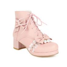 """Зимние женские розовые ботинки в стиле """"Лолита"""" теплые"""