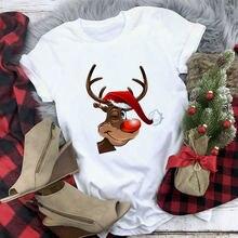 Женская футболка с изображением оленя модная Рождественская