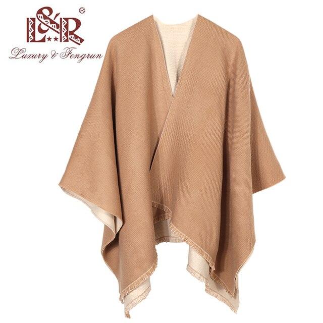 New Fashion Double Sides Winter Poncho Cashmere Women Poncho Scarf Foulard Femme Wool Shawl Poncho And Caps Tassle 2