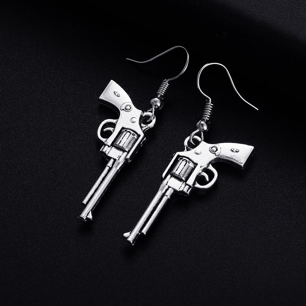 Trendy Vintage Revolver Gun Shape Dangle Earrings For Women Girl Retro Drop Earrings Cute Small Object Earring Jewelry Bijoux