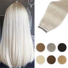 Блонд на ленте в наращивания на заколках человеческие волосы прямые машина, несекущиеся бразильские вьющиеся волосы Remy 14 24 дюймов бесшовные из полиуритановой кожи двусторонняя клейкая лента