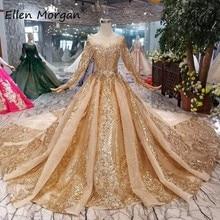 זהב ארוך שרוולים כדור שמלות כלה שמלות 2020 ערבית מוסלמי צבעוני זהב קריסטלים תחרה נפוחה בציר עבור כלה נשים ללבוש