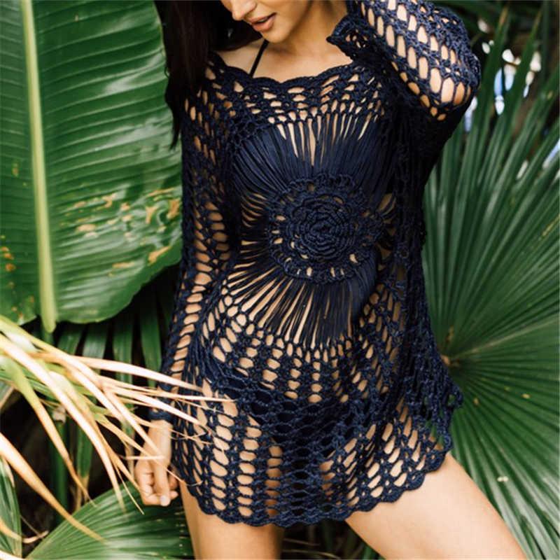 2020 artesanal túnica praia cover up bikini crochê malha beachwear verão maiô cobrir sexy transparente vestido de praia # q750