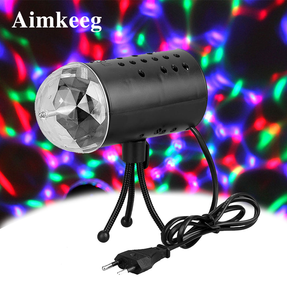 3W Auto Rotating Disco Light Mini RGB LED DJ Stage Light DJ Disco Lamp Crystal Magic Ball Sound Activation Party Lights