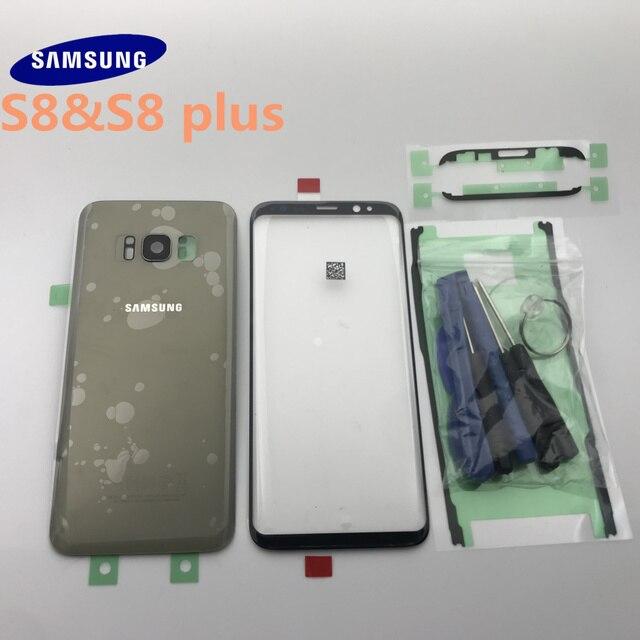 סמסונג גלקסי S8 G950 G950F S8 + בתוספת G955 G955F חזרה זכוכית כיסוי אחורי סוללה כיסוי דלת עם מצלמה עדשה + קדמי זכוכית עדשה