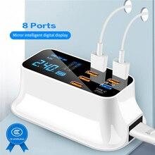 KSTUCNE 8 ميناء USB PD شاحن محور شحن سريع 3.0 LED عرض USB متعدد المنافذ شحن محطة الهاتف المحمول سطح المكتب جدار المنزل الاتحاد الأوروبي التوصيل