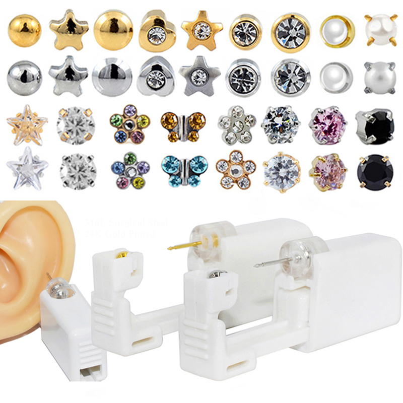 Disposable Sterile Ear Piercing Unit Cartilage Tragus Helix Piercing Gun Tool Kit Build In Steel Stud Earring Star Ball(China)