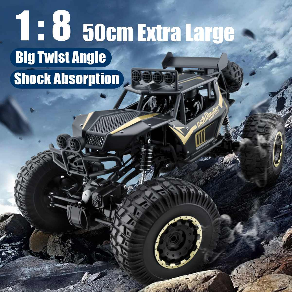 1:8 50cm RC Car 2.4G Radio Control 4WD Off-road Electric Vehicle Monster Buggy Remote Control Car Gift Toys For Children Boys 1