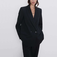Autumn and winter women's blazer jacket casual solid color double-breasted pocket decorative coat 1