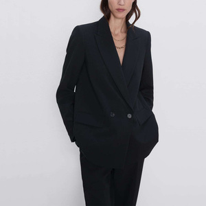 Autumn and winter women's blazer jacket casual solid color double-breasted pocket decorative coat(China)