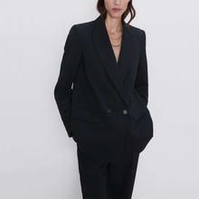 Autumn and winter women's suit casual solid color double-breasted pocket decorat
