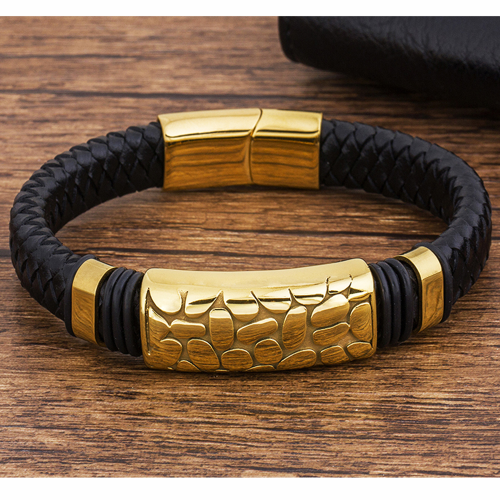 Stainless Steel Gold Magnetic Charm Black Jewelry Men's Bracelet Genuine Leather Wholesale Accessories New Rope Woven