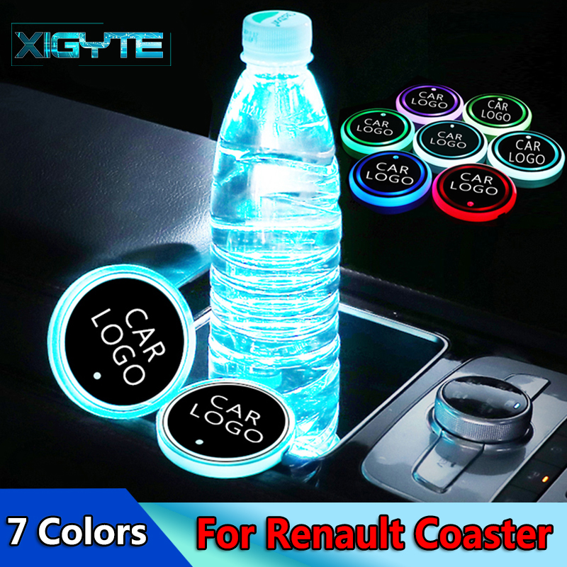 2X Fashion Car Styling <font><b>Logo</b></font> Light <font><b>LED</b></font> Cup Drink Holder Anti Slip For <font><b>Renault</b></font> Duster Megane 2 Logan Megane 3 Clio Car Accessories image