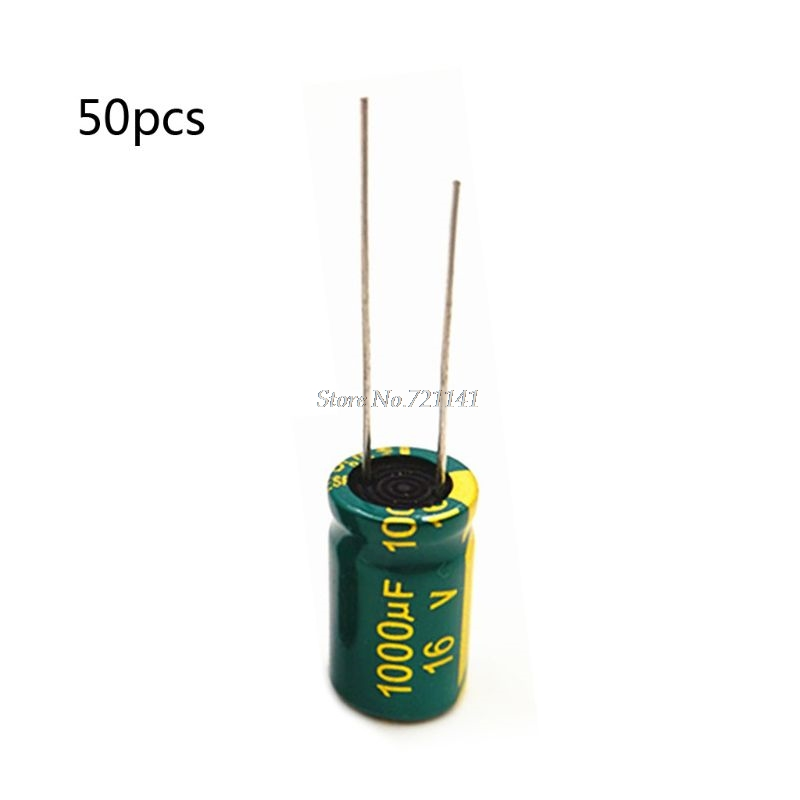 <font><b>50Pcs</b></font> <font><b>16V</b></font> <font><b>1000uF</b></font> 100Hz Aluminum Electrolytic Capacitor 20% Tolerance Circuit Board DIY Whosale&Dropship image