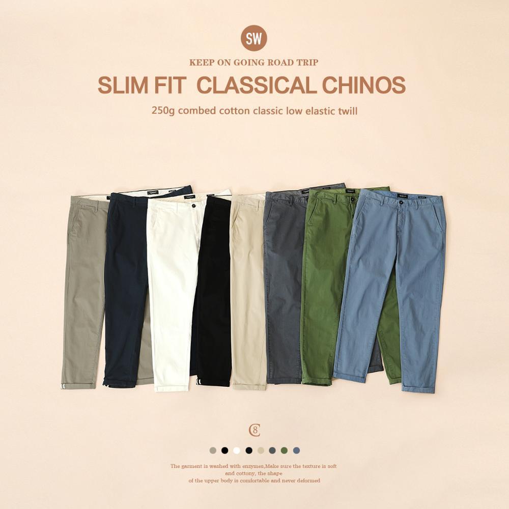 Мужские повседневные брюки из хлопка SIMWOOD, хлопковые светлые брюки облегающего покроя, 7 цветов в наличии, брендовая одежда больших размеров на Весна и лето 2020