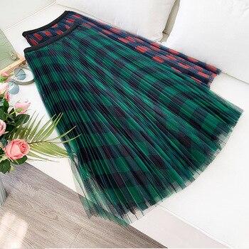 Plaid mesh skirt temperament skirt women's high waist drape skirt hundred pleated skirt yarn skirt Plaid puff big swing skirt skirt moe skirt