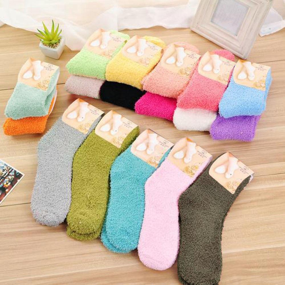6 Colors 1Pair Ladies Women Warm Thick Socks Velvet Seamless Socks