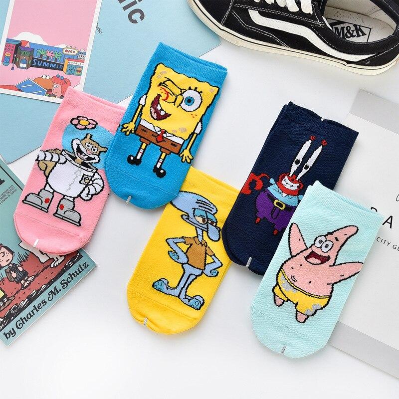 Cartoon Socks Women Spongebob Socks Patrick Star Short Sock Cotton Streetwear Harajuku Cute Patterend Ankle Socks For Girls