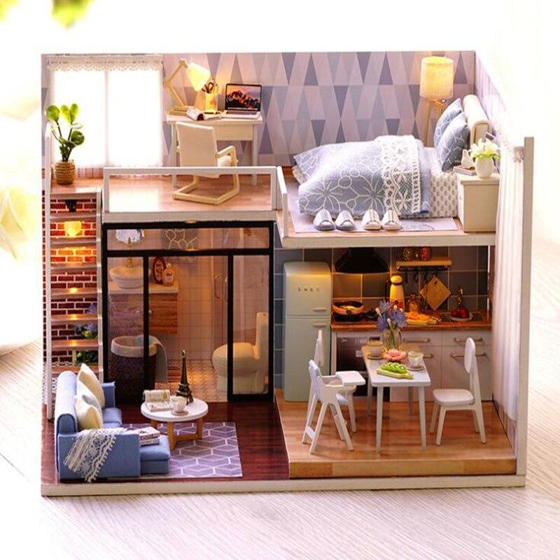 ¡Novedad! Casa de muñecas en miniatura de madera con muebles DIY, Fidget Toys para niños, regalo de cumpleaños, Blue Times