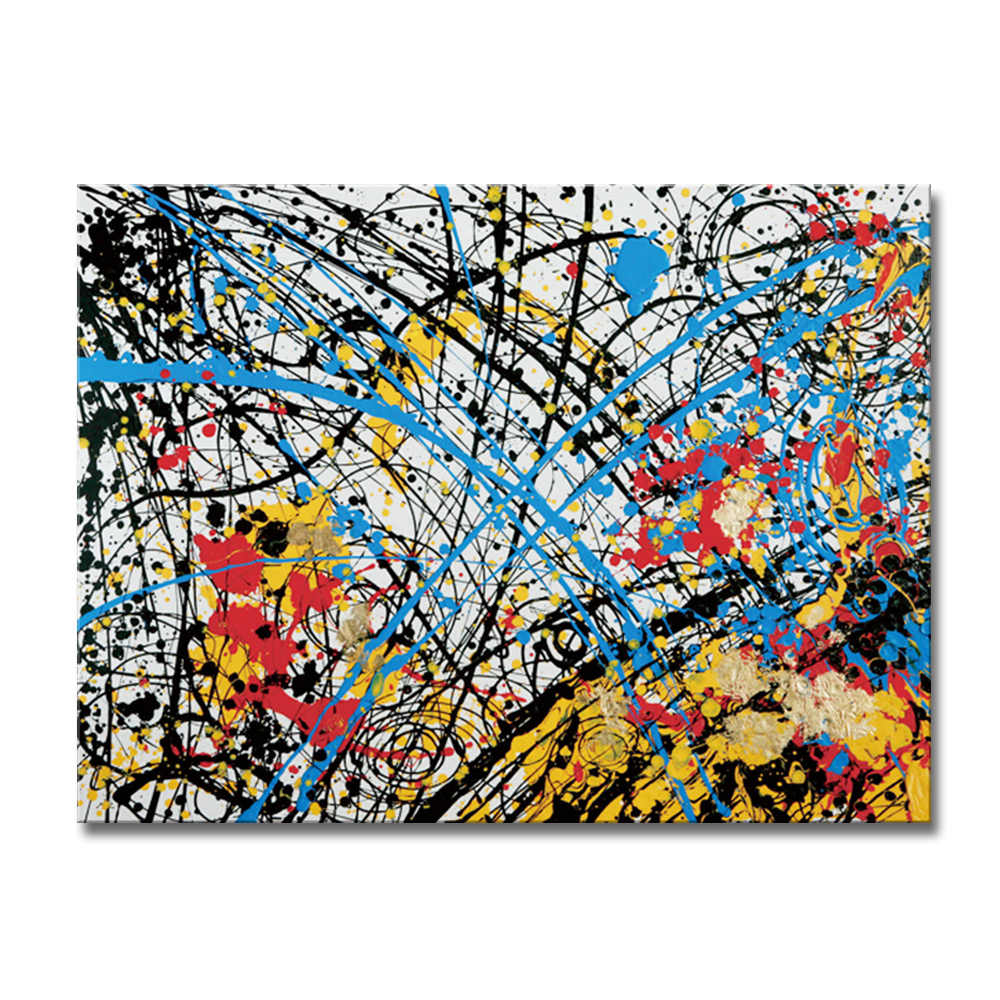 Free Shipping Hand Painted Abstract Oil Paintings On Canvas Red Black Yellow Blue Home Decoration Modern Wall Painting 80X100CM