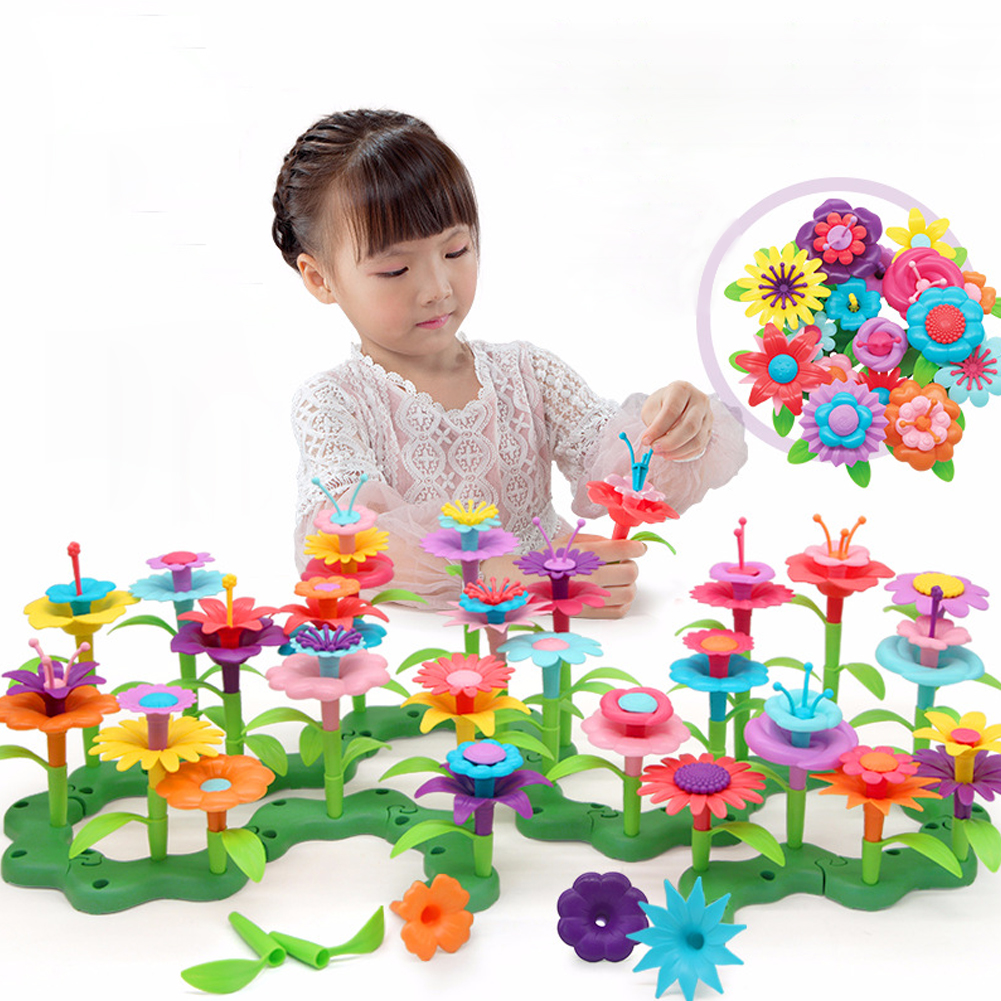 46pcs Learning Playset Assemble Toy Craft For Kids Colorful Educational Building Toddler Flower Arrangement Children Growing DIY