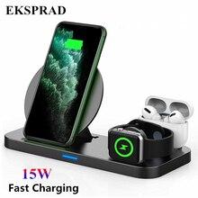 Eksprad 3 In 1 Draadloze Oplader 15W Snelle Wireless Charging Stand Voor Iphone 11Pro X Xs Apple Horloge Serie 5 4 3 Airpods Pro 1 2