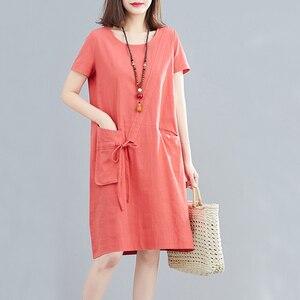 Elifashion Korean Version Loose Solid Color Round Neck Short Sleeve Cotton & Linen Dress Pocket & Tether Decoration For Summer