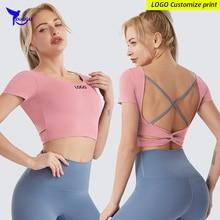 T-Shirt Fitness Workout Quick-Dry Sports Running Gym Women Padded-Crop-Top Short-Sleeve