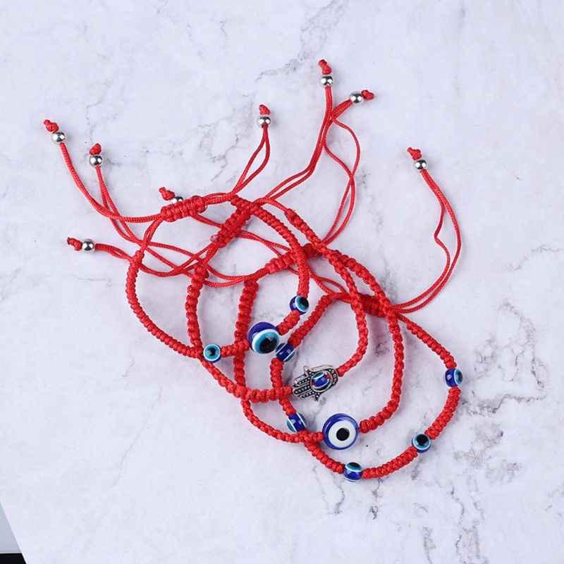 ตุรกี Evil Eye Protection Kabbalah Red String สร้อยข้อมือ Fatima Hand เครื่องประดับ