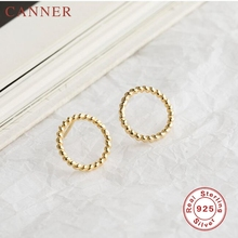 925 Sterling Silver Round Hollow Shape Stud Earrings for Women  Circle Gold Silver color Earrings Fashion Jewelry New Arrival