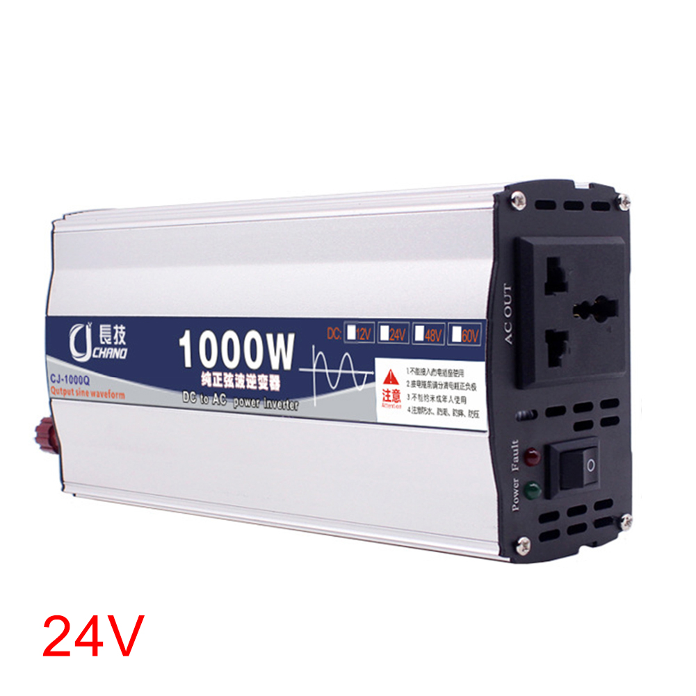 600W <font><b>1000W</b></font> Power <font><b>Inverter</b></font> Supply Home Use Surge Protection Pure Sine Wave <font><b>12V</b></font> 24V To 220V Car LED Display Converter Practical image