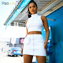 HAOYUAN Black White Rib Knit 2 Piece Set Women Rave Festival Clothing Sexy Club Outfits Crop Top and Skirt Suits Matching Sets(China)