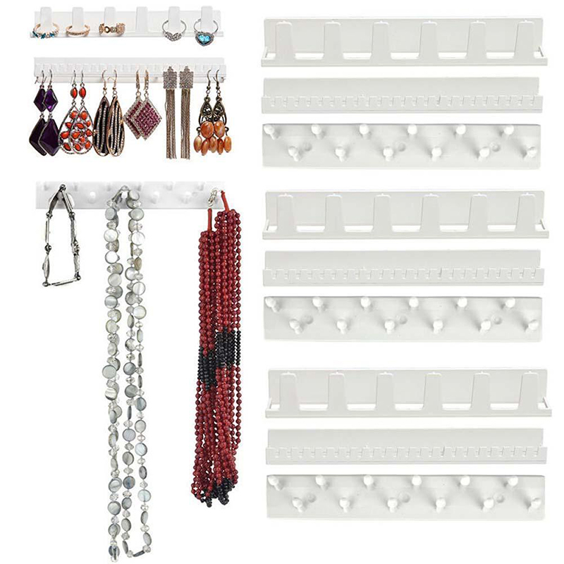 Adhesive Jewelry 9-in-1 Storage Rack Necklace Stud Earring Display Holder Organizer Wall Hanging Closet Jewelry Storage Rack