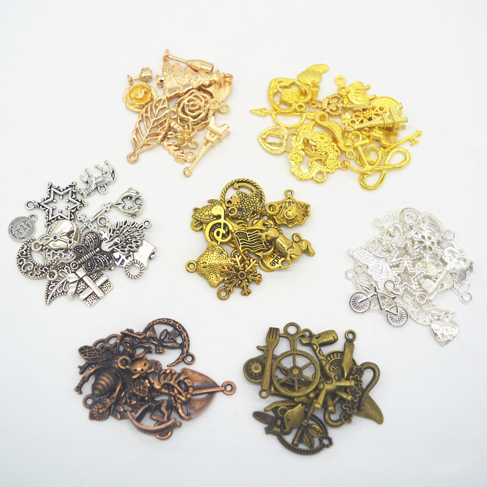 50g/Lot  Charm Retro Style Antique Bronze Silver Gold Color Connectors Pendant Alloy For Diy Necklace Jewelry Making Handmade
