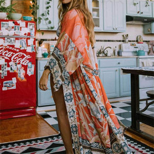 2020 Bohemian Printed Self Belted Loose Summer Beach Tunic Plus Size Beachwear Long Kimono Cardigan Boho Women Tops Blouse N996