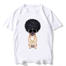2020 Fashion Men T-Shirt Cool Stylish Pug Wear a wig Print T-Shirt Boy Casual Tops Funny Hip Hop Style Tees Retro Short Sleeve(China)