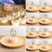 Hot 4CM Creative Round Wooden Note Picture Frame Clip Table Number Wedding Photo Holder Photo Clip Memo Name Card Pendant Holder(China)