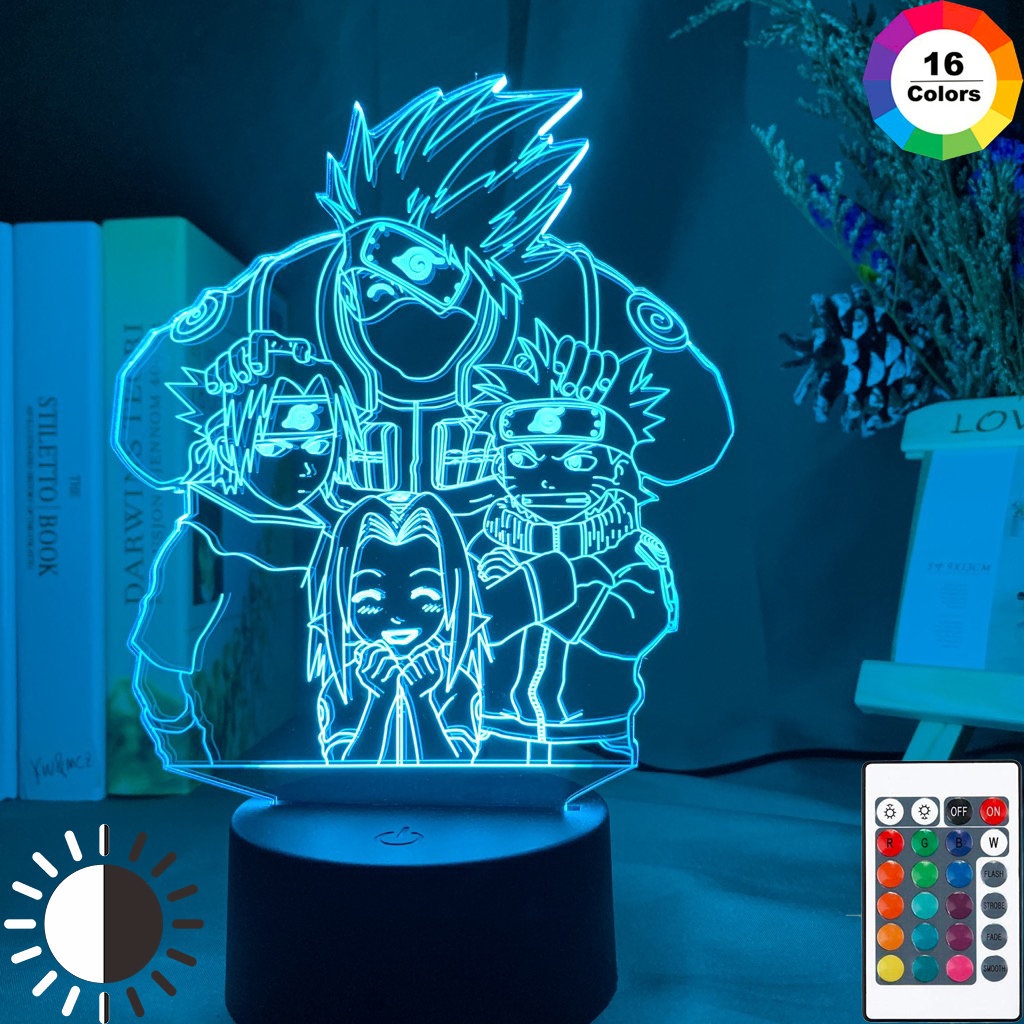 NARUTO UZUMAKI LED NIGHTLIGHT TEAM 7 SASUKE KAKASHI HATAKE KIDS LAMP 16 COLORS