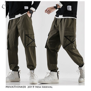 Image 3 - Privathinker Men Casual Army Green Cotton Cargo Pants Mens 2020 Autumn Street Style Joggers Male Hip Hop Pockets Oversize Pants