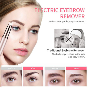 Electric Eyebrow Trimmer Women Mini Eyebrow Shaver Instant Painless Face Brows Hair Remover Epilator Portable Razors mini electric eyebrow trimmer ear eyebrow trimmer for women personal electric face care portable shaver razor epilator