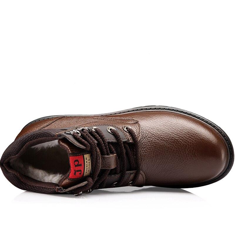 Hommes chaussures d'hiver chaud confortable mode en cuir véritable bottes de neige bottes imperméables hommes laine peluche bottes chaudes - 4