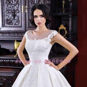 Image 3 - فساتين زفاف فساتين زفاف 2020 Vestido De Noiva Princesa ذات أكمام قصيرة بأربطة مطرز بالخرز لؤلؤ مزين فستان رائع