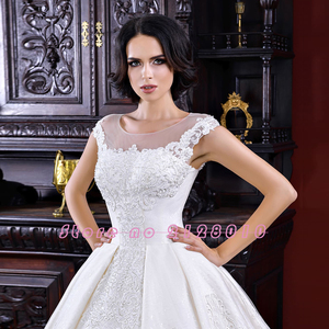 Image 3 - 공주 공 가운 웨딩 드레스 2020 vestido de noiva princesa 모자 슬리브 레이스 구슬 진주 appliques 화려한 드레스