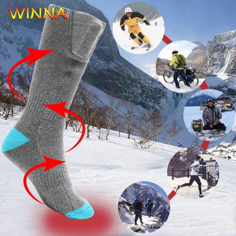 Chaussettes chauffantes électriques unisexes avec batterie 3.7V chauffant 65 Celsius chaussette Flexible chauffe-pieds pour Ski cyclisme randonnée chaussettes thermiques