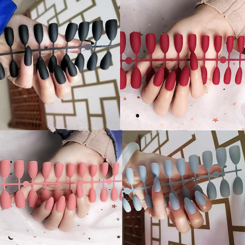 24 Stks/set Volledige Cover Matte Valse Nail Tips Nail Art Manicure Matte Tips Voor Valse Nep Nagels Extension Voor Valse nagels Tips